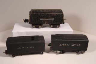 Large Lot of Lionel Pre War Tenders. Lot includes eight tenders and