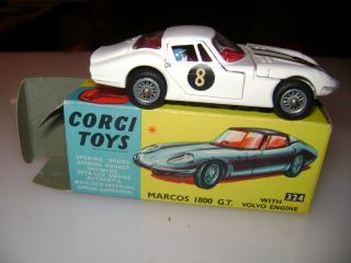 Corgi Toys Marcos 1800 GT with Volvo Engine Model 324 with Box