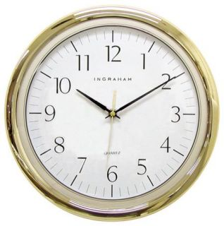 Ingraham Clocks 34 198 12 1/2 Gold Frame Halley Round Wall Clock