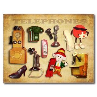 Verschiedene Telefone   alt und neu Postkarte